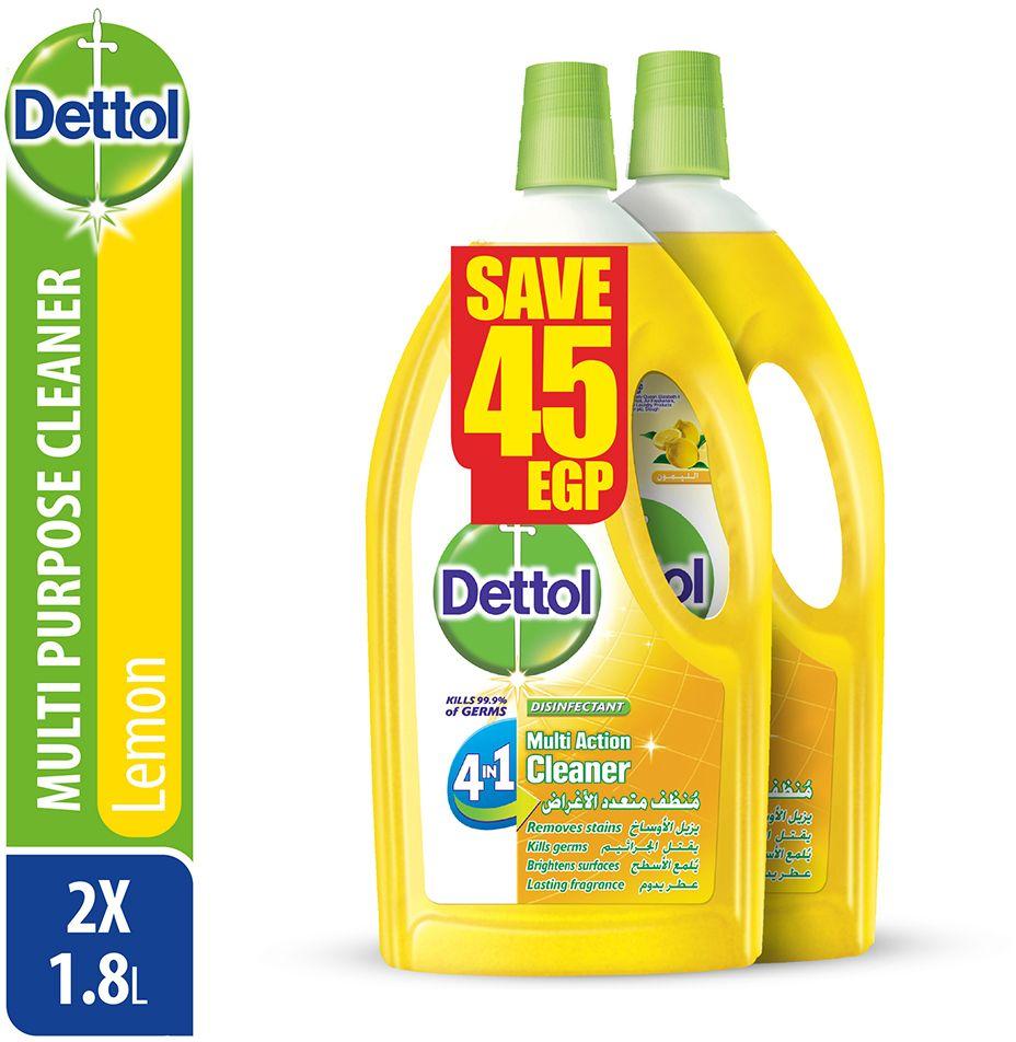 منظف لجميع الاغراض المنزلية برائحة الليمون من ديتول، عبوتين - 1.8 لتر